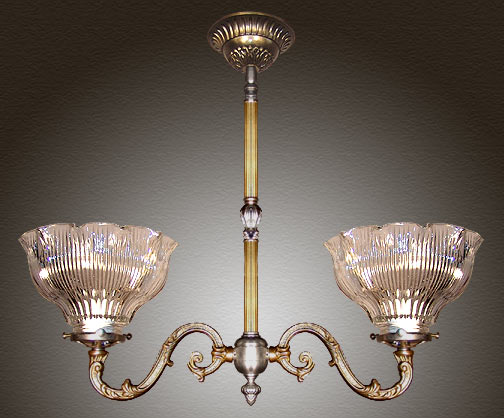 Model NSH6 Victorian Short Ceiling Light with Reeded Tubing